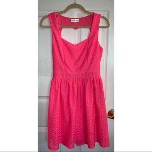 Emerald Sunday- Open Heart Back Pink Dress